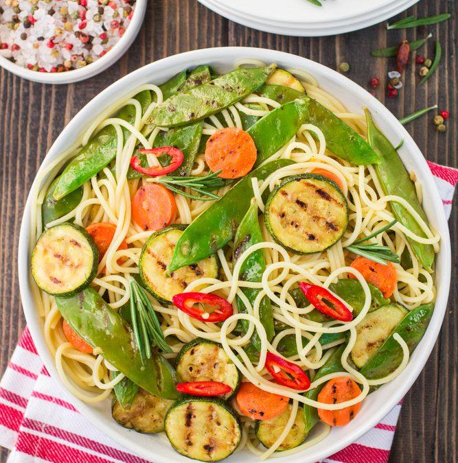 Spaghetti met Gegrilde Groenten en Rozemarijn